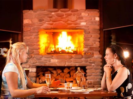 Fireplace at Raupo Riverside Cafe & Restaurant