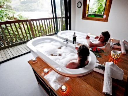 Lochmara Lodge bathhouse in the Marlborough Sounds, New Zealand