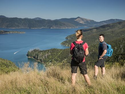 Hikers rest overlooking Bay of Many Coves along the Queen Charlotte Track in the Marlborough Sounds. Copyright Destination Marlborough