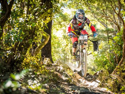 A competitor in the New Zealand Enduro racing on Marlborough's Whites Bay Loop Track. Photo: Caleb Smith