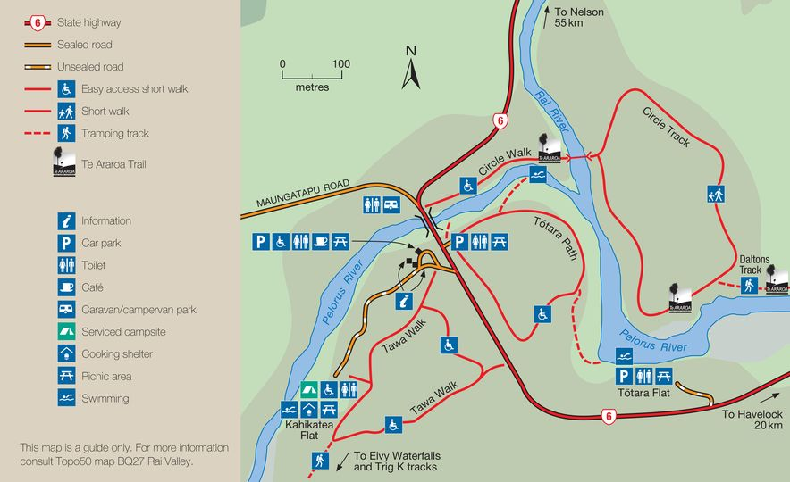 Pelorus Bridge Scenic Reserve Walks map