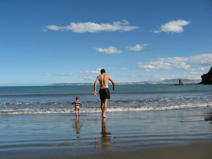 Beach action at Whites Bay near Blenheim in Marlborough, New Zealand