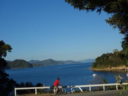Brilliant views of New Zealand's Marlborough Sounds biking along Queen Charlotte Drive at the top of the South Island