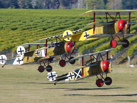 Fokker triplanes taking off at Classic Fighters in Marlborough. Photo: Gavin Conroy