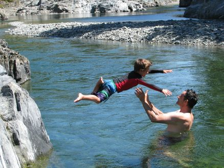 Swimming in the Pelorus River - a brilliant spot for a family splash