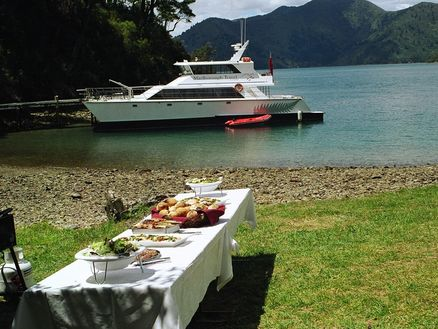 Gourmet catered lunch in the Marlborough Sounds